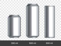 3D może mockup Wektorowego aluminiowego piwa lub sodowanej puszki pustego miejsca szablon ilustracji