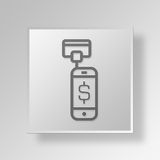 3D Mobiele Kaartlezer Button Icon Concept stock illustratie