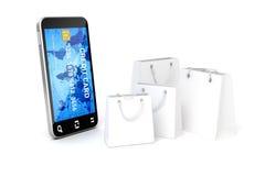 3d mobiele telefoon en creditcard Royalty-vrije Stock Foto's