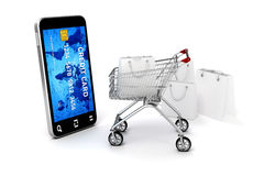 3d mobiele telefoon en creditcard Stock Afbeelding