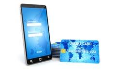 3d mobiele telefoon en creditcards Stock Foto's