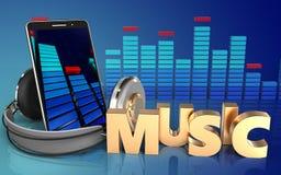 3d mobiele telefoon van het muziekteken Stock Afbeelding