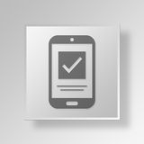 3D mobil kontroll Mark Button Icon Concept Vektor Illustrationer