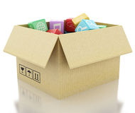 3d Mobile applications software in cardboard box. Stock Photos