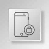 3D Mobile Business Button Icon Concept. 3D Symbol Gray Square Mobile Business Button Icon Concept Royalty Free Stock Photo