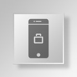 3D Mobile Business Button Icon Concept. 3D Symbol Gray Square Mobile Business Button Icon Concept Royalty Free Stock Images