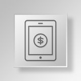 3D Mobile Business icon Business Concept. 3D Symbol Gray Square Mobile Business icon Business Concept Stock Images