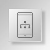 3D mobile diagram icon Business Concept. 3D Symbol Gray Square mobile diagram icon Business Concept Royalty Free Stock Photos