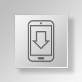 3D Mobile Download Button Icon Concept. 3D Symbol Gray Square Mobile Download Button Icon Concept Royalty Free Stock Photo