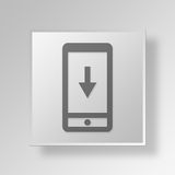 3D Mobile Download Button Icon Concept. 3D Symbol Gray Square Mobile Download Button Icon Concept Stock Photos