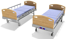 3d mobile hospital beds with recliner. 3d detailed mobile hospital beds with recliner on white background Stock Image