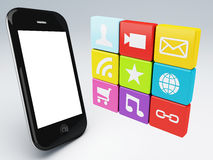3d mobile phone app wifi Stock Photo