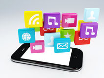 3d mobile phone app wifi Stock Photos