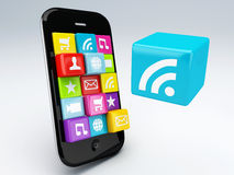 3d mobile phone app wifi Stock Photos