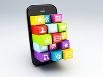 3d mobile phone app wifi Stock Images