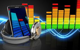 3d mobile phone audio spectrum. 3d illustration of mobile phone over sound wave black background Royalty Free Stock Photos