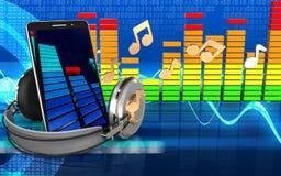 3d mobile phone audio spectrum Stock Photography