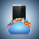 3d mobile phone and cloud apps. On blue background Stock Image