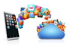 3d mobile phone and cloud apps. On white background Royalty Free Stock Image