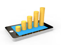 3D mobile phone and coins stacks Royalty Free Stock Images