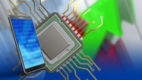 3d mobile phone. 3d illustration of cpu over arrows graph background with mobile phone Stock Image
