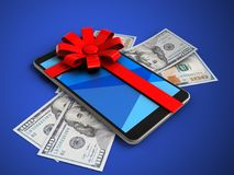 3d mobile phone. 3d illustration of mobile phone over blue background with banknotes and gift ribbon Royalty Free Stock Photo