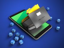 3d mobile phone. 3d illustration of mobile phone over blue background with binary cubes and archive Stock Image