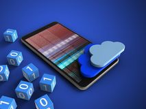 3d mobile phone. 3d illustration of mobile phone over blue background with binary cubes and clouds Royalty Free Stock Image