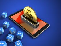 3d mobile phone. 3d illustration of mobile phone over blue background with binary cubes and coin Stock Photo