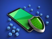 3d mobile phone. 3d illustration of mobile phone over blue background with binary cubes and shield Royalty Free Stock Photos