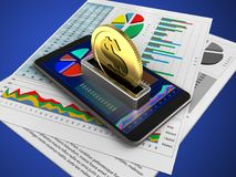 3d mobile phone. 3d illustration of mobile phone over blue background with business papers and coin Royalty Free Stock Images