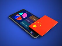 3d mobile phone. 3d illustration of mobile phone over blue background with china flag Royalty Free Stock Photography