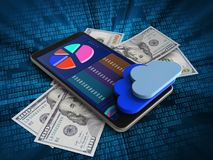 3d mobile phone. 3d illustration of mobile phone over digital background with banknotes and clouds Royalty Free Stock Photos