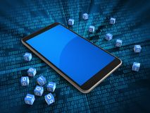 3d mobile phone. 3d illustration of mobile phone over digital background with binary cubes and Royalty Free Stock Image