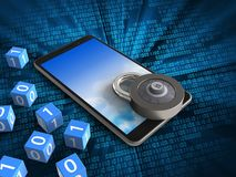 3d mobile phone. 3d illustration of mobile phone over digital background with binary cubes and code lock Royalty Free Stock Photos