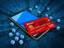 3d mobile phone. 3d illustration of mobile phone over digital background with binary cubes and credit card Royalty Free Stock Image