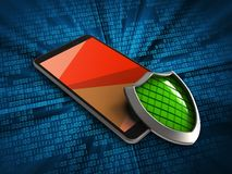 3d mobile phone. 3d illustration of mobile phone over digital background with shield Stock Photo