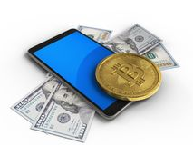 3d mobile phone. 3d illustration of mobile phone over white background with banknotes and bitcoin Royalty Free Stock Photo