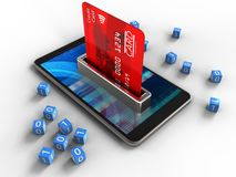 3d mobile phone. 3d illustration of mobile phone over white background with binary cubes and bank card Royalty Free Stock Photo