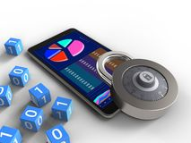 3d mobile phone. 3d illustration of mobile phone over white background with binary cubes and lock Stock Image
