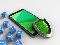 3d mobile phone. 3d illustration of mobile phone over white background with binary cubes and shield Stock Photography