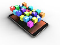 3d mobile phone. 3d illustration of mobile phone over white background with icons Stock Photography