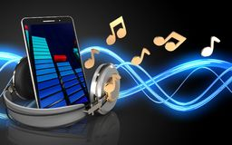 3d mobile phone notes. 3d illustration of mobile phone over sound wave black background with notes Stock Photography