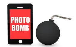 3d mobile phone photo bomb concept Royalty Free Stock Photo