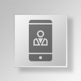 3D mobile profile Button Icon Concept Royalty Free Stock Image