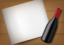3D Mock up Realistic Wine Bottle, Paper and Wood Background Illustration. Vector royalty free illustration
