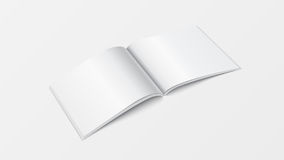 3d mockup open book template perspective view. Booklet blank white color  on white background for printing design, brochur Royalty Free Stock Image