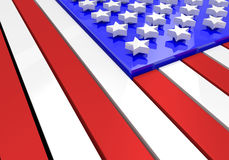 3D model of an American flag in relief Royalty Free Stock Photo