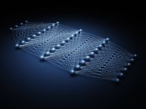 3d model of artificial deep neural network. Artificial deep neural network structure, digital illustration with schematic blue model, 3d render Royalty Free Stock Images