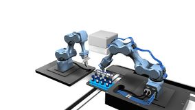 3D model automatyzujący laboratorium z dwa machinalnymi rękami bierze próbki od tacy próbne tubki z białym tłem Obrazy Stock